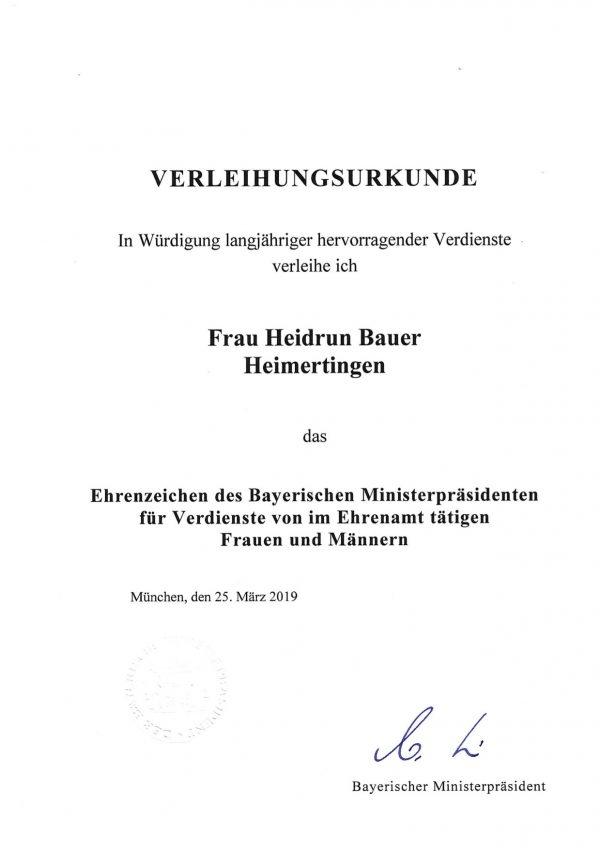Bauer Heidrun-Verleihungsurkunde